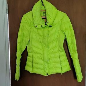 Neon green puffer jacket
